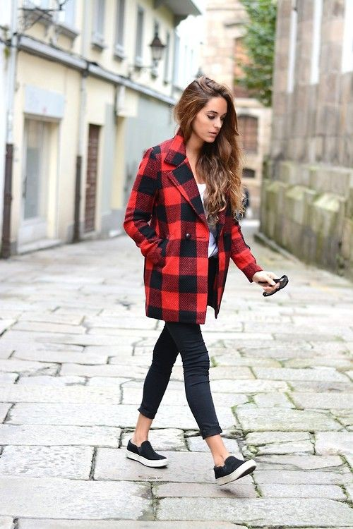 Red and black coat outfit