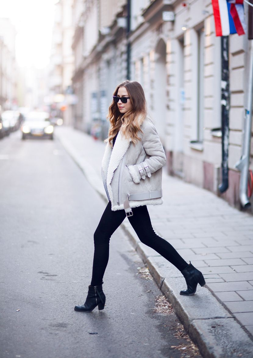 Instagram fashion winter jacket women, winter clothing, street fashion, flight jacket, fleece ja ...