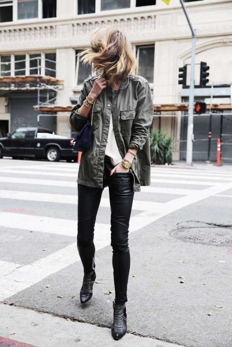 Black studded boots outfit slim fit pants, street fashion