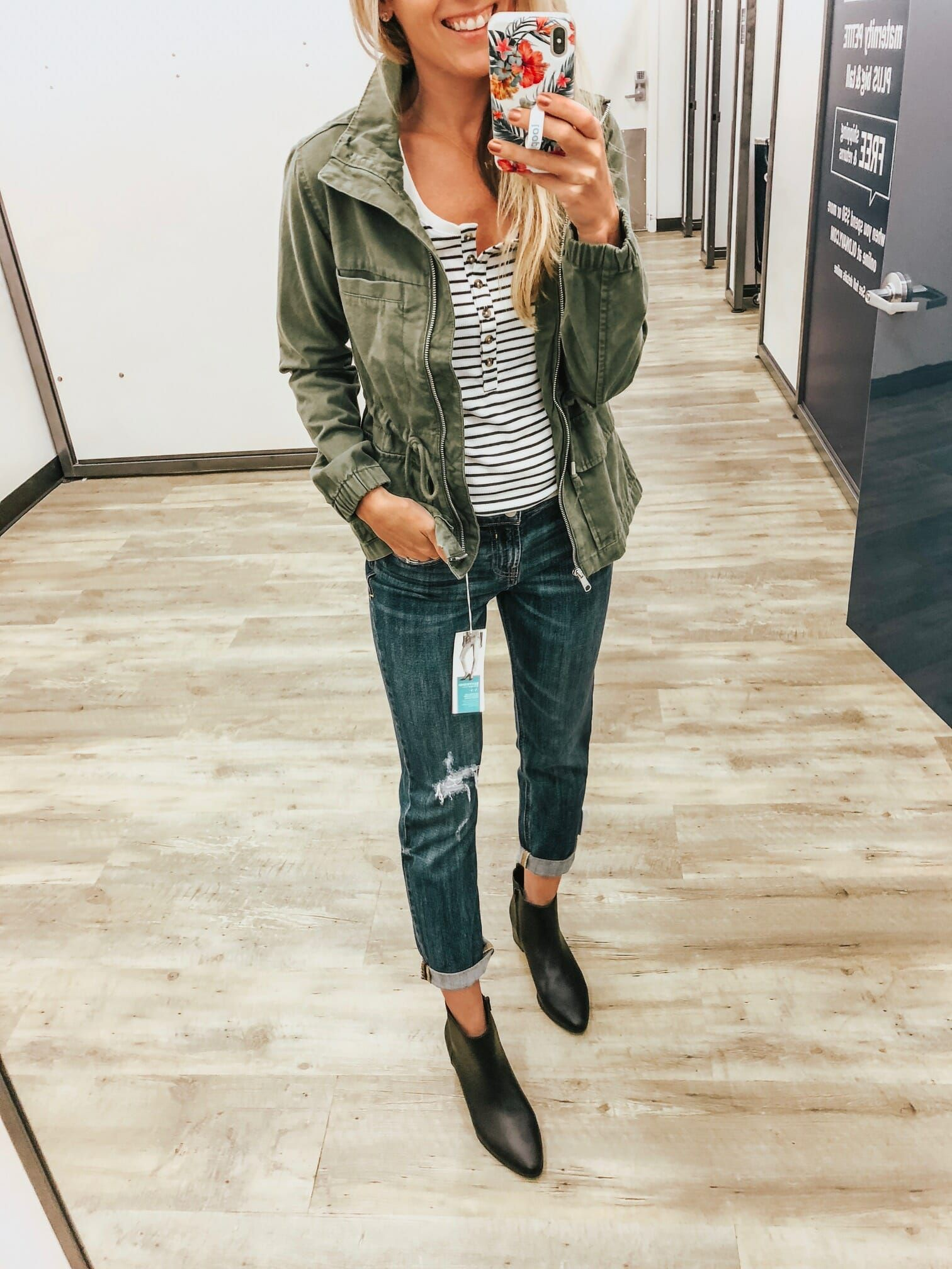 Khaki colour outfit, you must try with leather jacket, tartan, jacket
