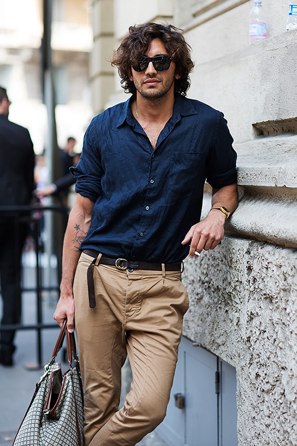 Navy blue shirt style, street fashion, casual wear, dress shirt, navy blue, t shirt