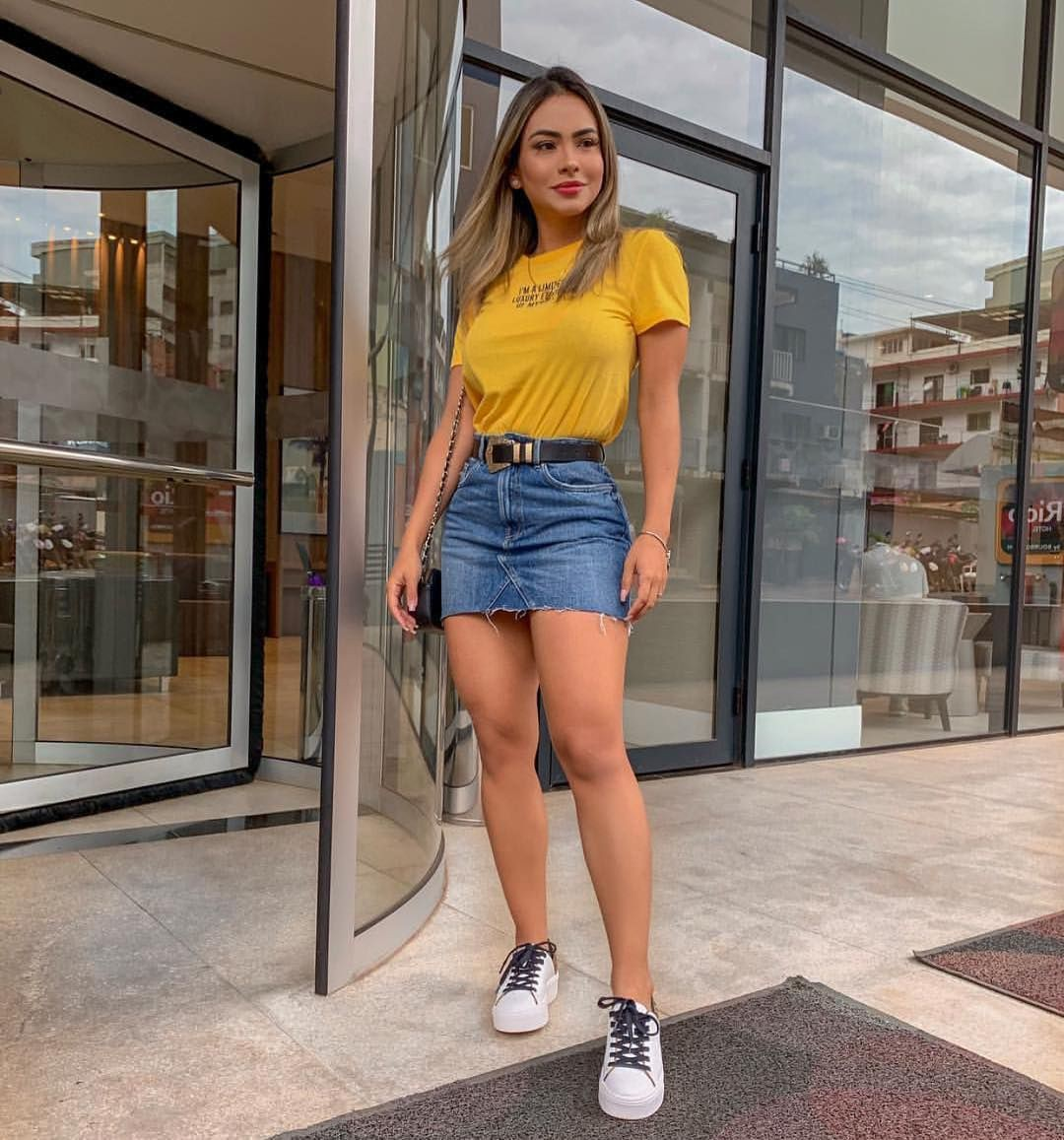 Yellow dresses ideas with vintage clothing, denim skirt, jean short