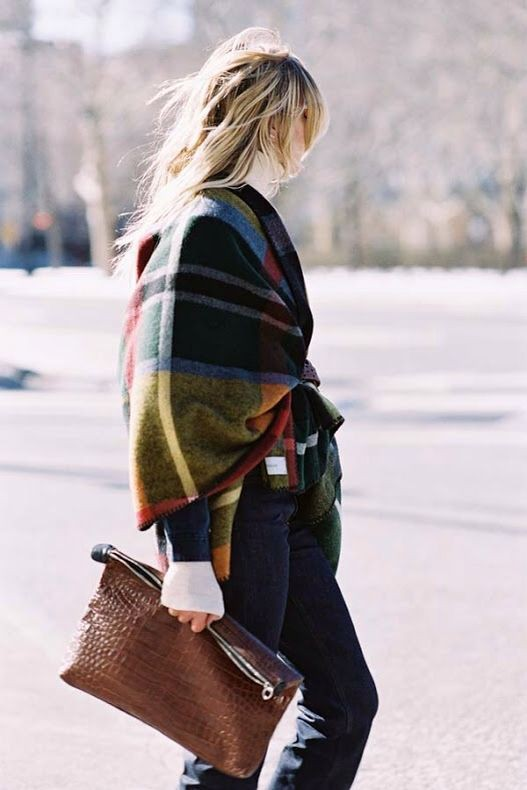 Brown outfit ideas with tartan, denim, jeans