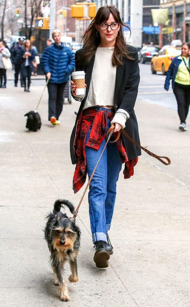 Dakota johnson with specs, dakota johnson, street fashion, companion dog, fifty shades, dog walk ...