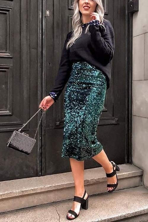 Turquoise colour outfit ideas 2020 with pencil skirt, denim skirt, denim