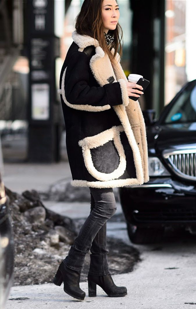 Coach shearling coat womens, winter clothing, shearling coat, street fashion, fur clothing