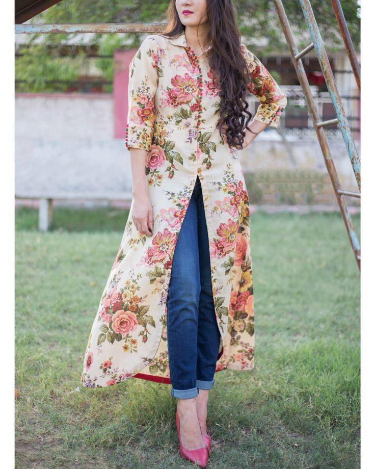 Front slit kurti design, street fashion, floral design, kurti top