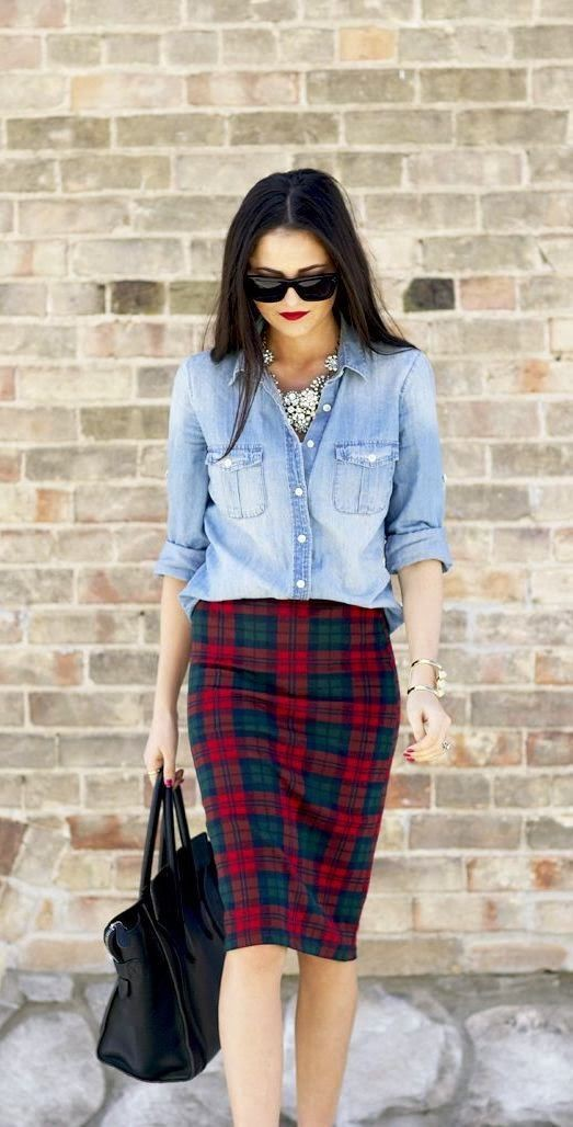 Denim shirt plaid skirt, street fashion, pencil skirt, dress shirt, t shirt