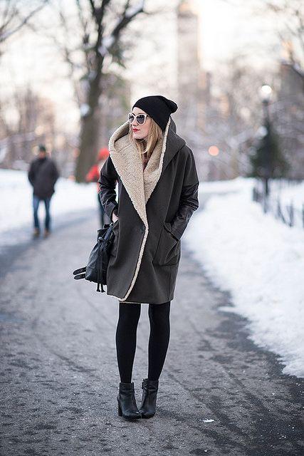 All saints ladies coat, winter clothing, shearling coat, street fashion