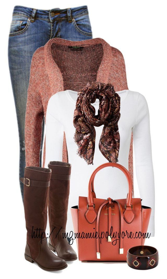 Brown and red classy outfit with leather, jacket, denim