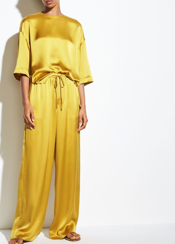 Yellow outfit ideas with trousers, pajamas, shorts