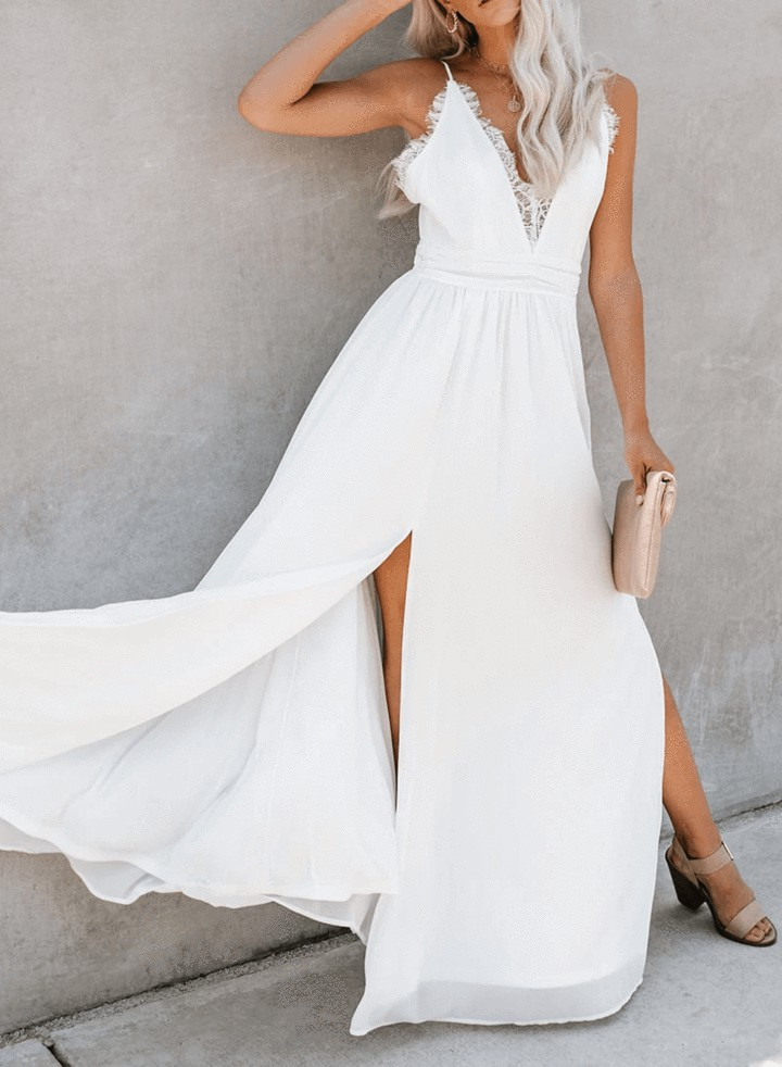 Gala lace slit maxi dress vici