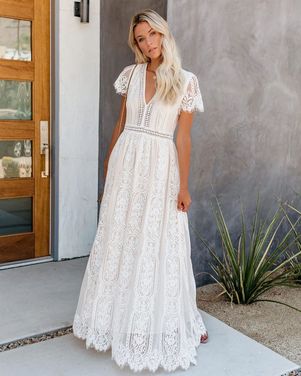 Longue robe boheme blanche bridal party dress, bridal clothing