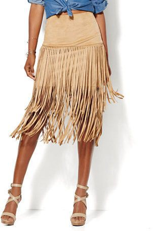 Colour outfit suede fringe skirts suede fringe skirt