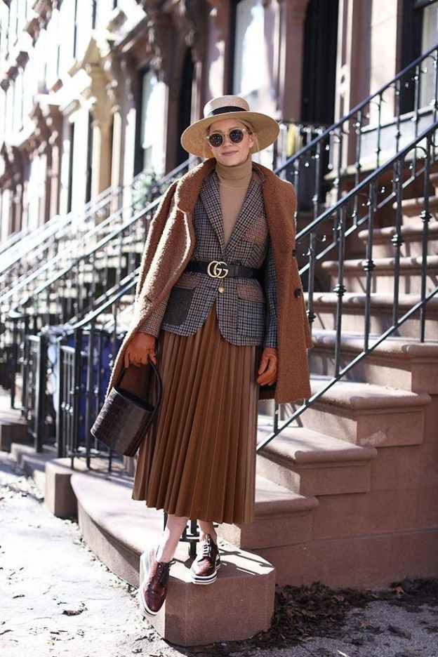 Beige and brown colour outfit with blazer, skirt, coat