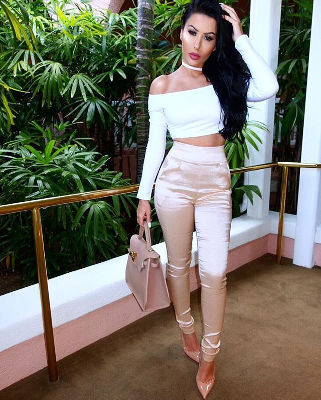 White and pink colour outfit with trousers, crop top