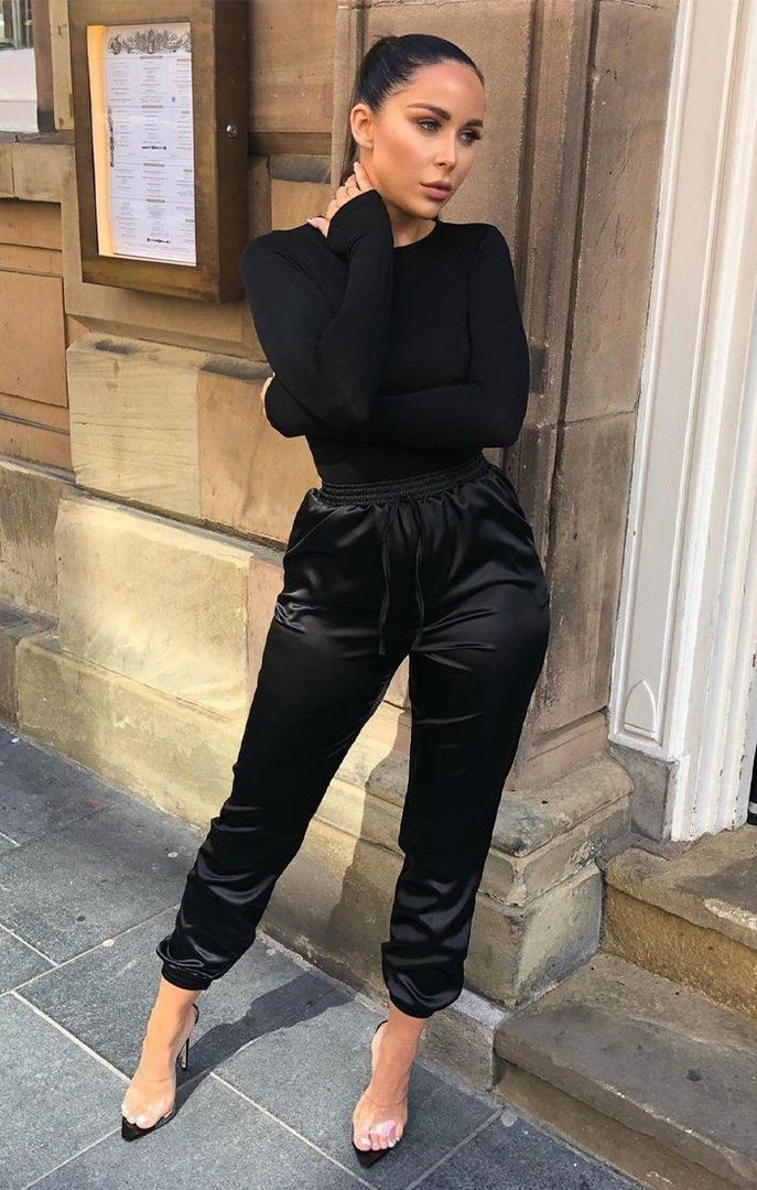 Outfit leather pants cuffed, street fashion, casual wear