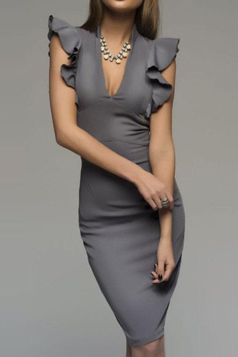 Elegant knee length dresses, cocktail dress, fashion model, pencil skirt, evening gown, party dr ...