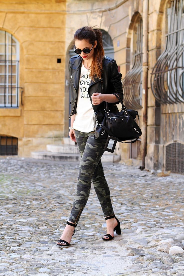 Colour outfit, you must try military pants outfits slim fit pants, military camouflage