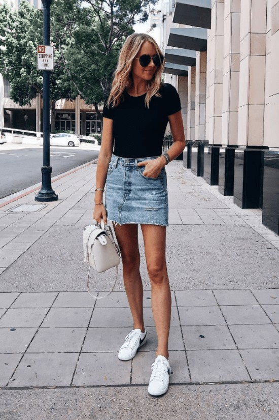 Denim skirt outfit with sneakers