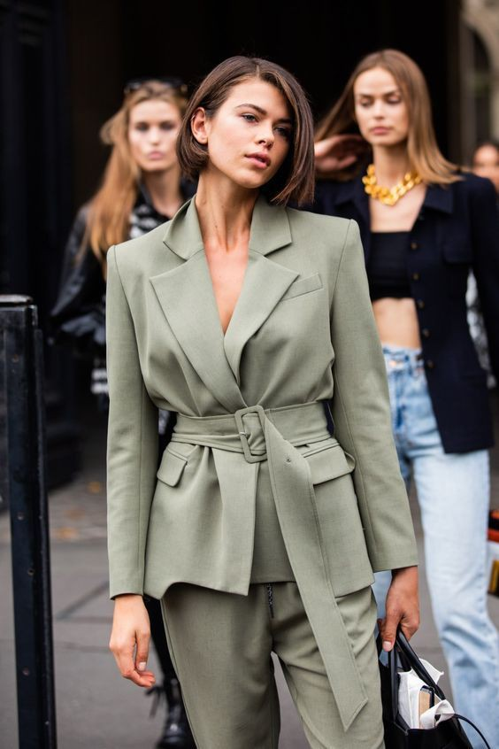 Lookbook dress with trench coat, formal wear, pantsuit