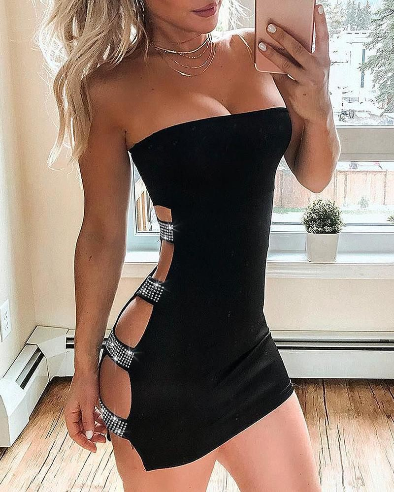 Studded ladder cut out tube bodycon dress
