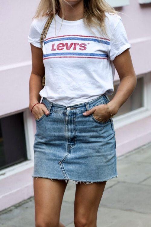 Denim skirts with tshirts levi strauss & co., denim skirt