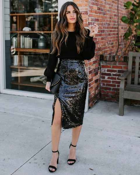 Outfit style vici sequin skirt, street fashion, leather skirt, fashion model, sequin skirt, penc ...