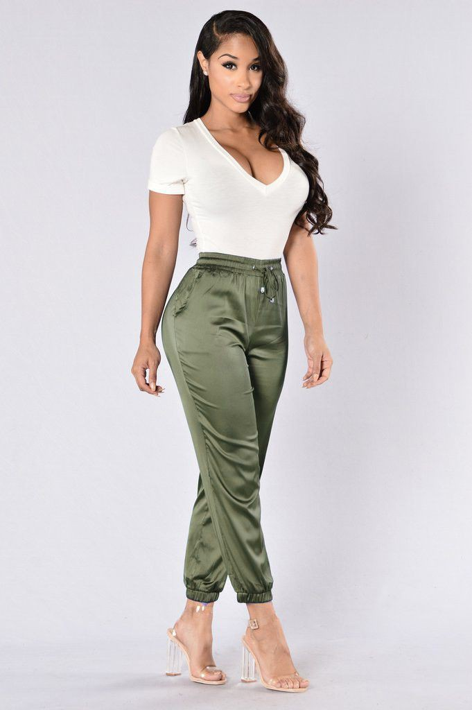 Khaki and green colour combination with trousers, pajamas, shorts