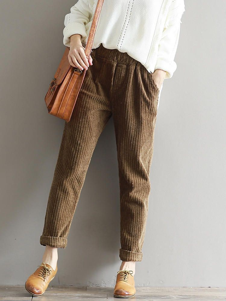 Elastic waist corduroy pants corduroy casual pants, suit trousers