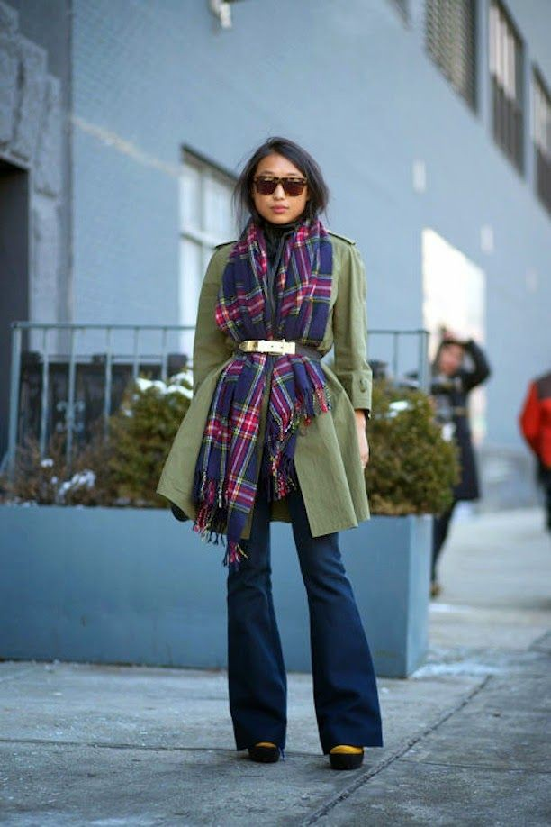 Colour dress scarf with belt, winter clothing, street fashion