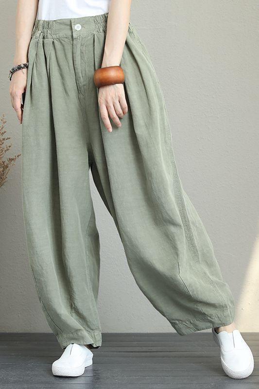 Wide leg linnen women loose trousers