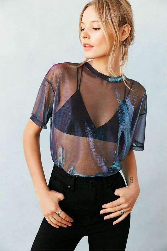 Style outfit sheer holographic top see through clothing, sheer fabric