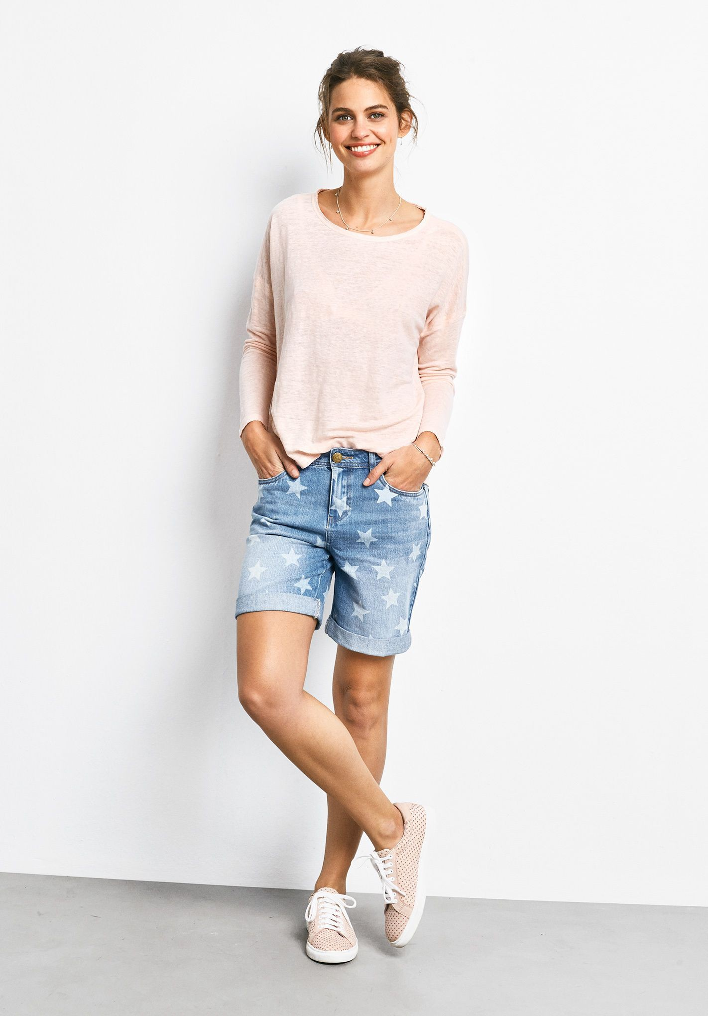 White fashion collection with bermuda shorts, trousers, shorts
