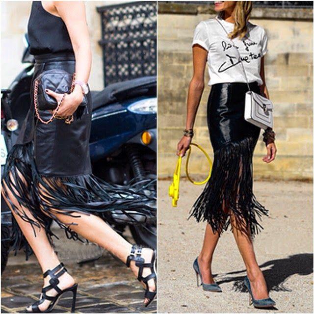 Blue leather fringe skirt, street fashion, fashion model, pencil skirt, t shirt