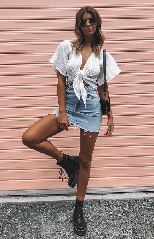 Brown beautiful clothing ideas with denim skirt, skirt, denim