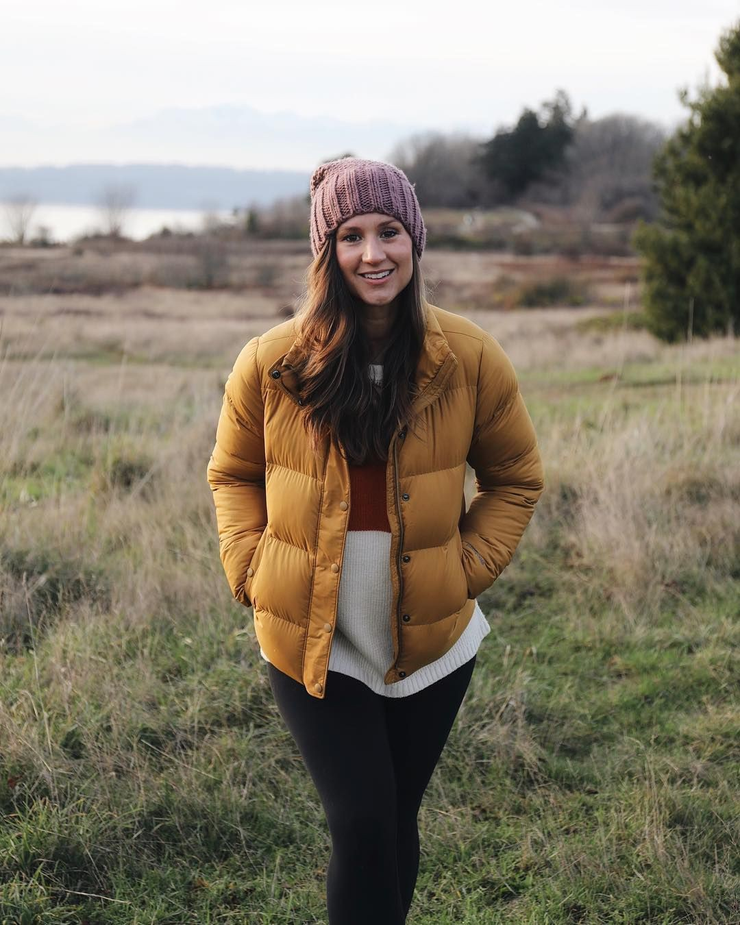 Yellow and brown colour outfit with beanie, jacket, fur