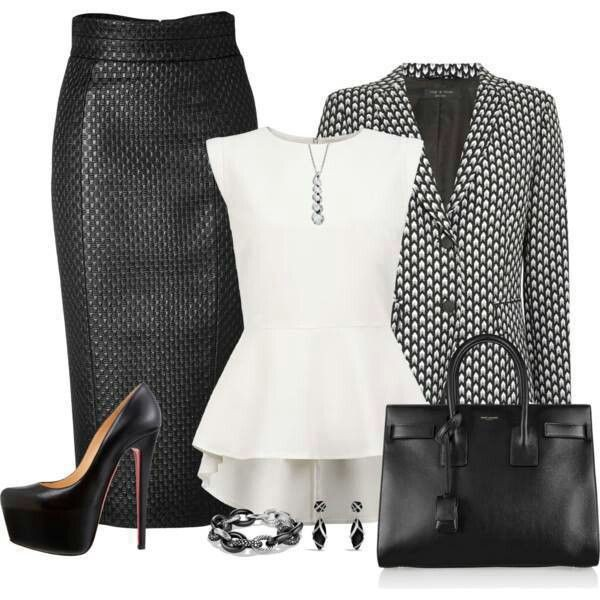Colour outfit, you must try etek ceket kombinleri black and white, pencil skirt