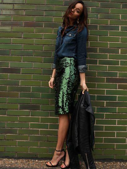 Dresses ideas saia brilhosa lapis, fashion accessory, street fashion, pencil skirt