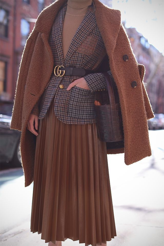 Brown cute outfit ideas with overcoat, blazer, skirt
