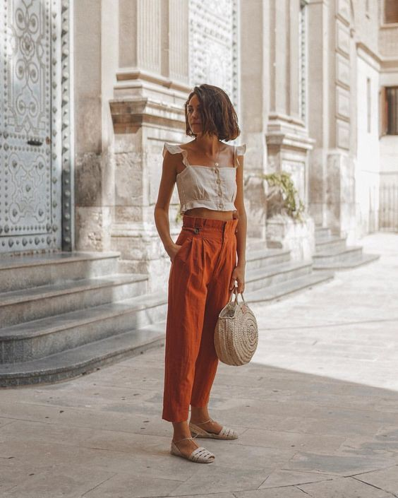 Orange linen pants outfit, street fashion, casual wear, crop top