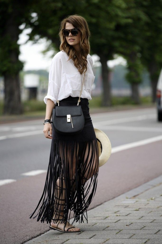 White colour outfit with fashion accessory, crop top, skirt
