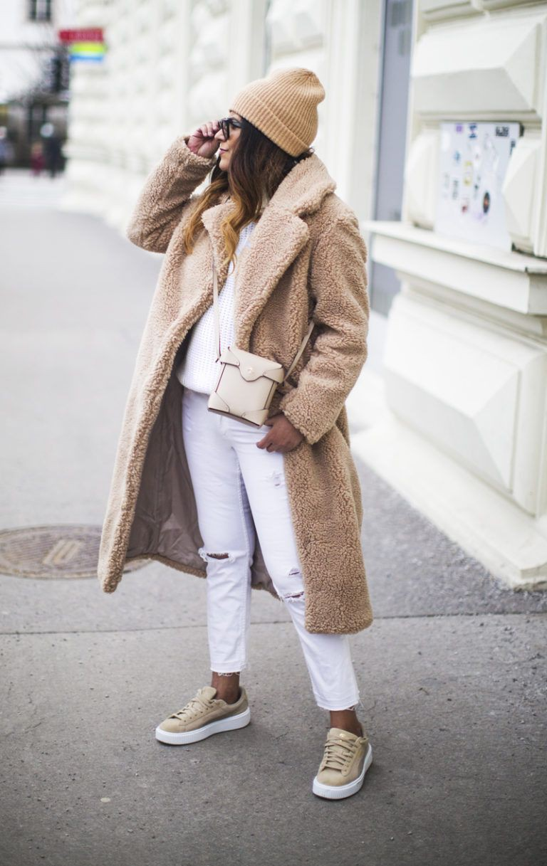 Beige dresses ideas with coat, fur