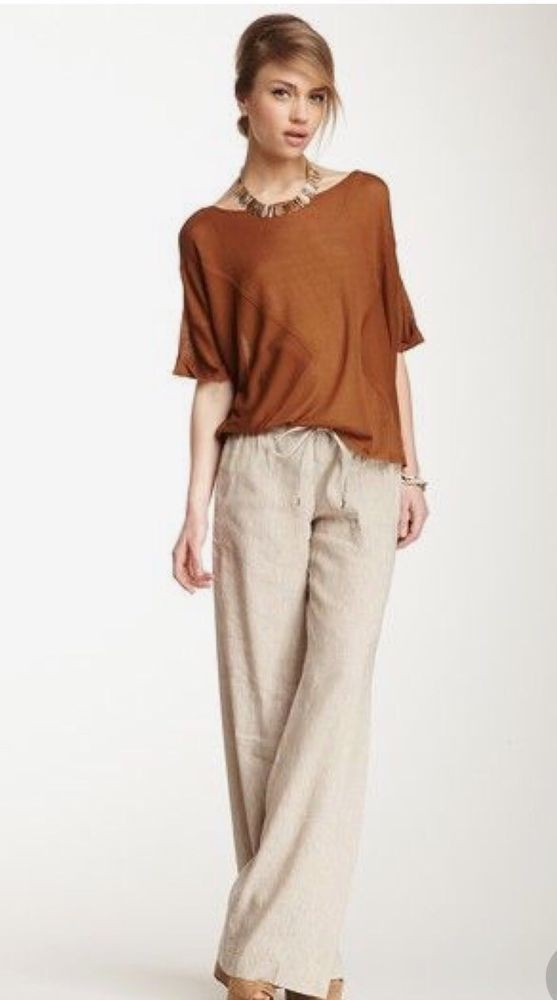 Linen beige trousers outfit, fashion model, dress shirt, ann taylor