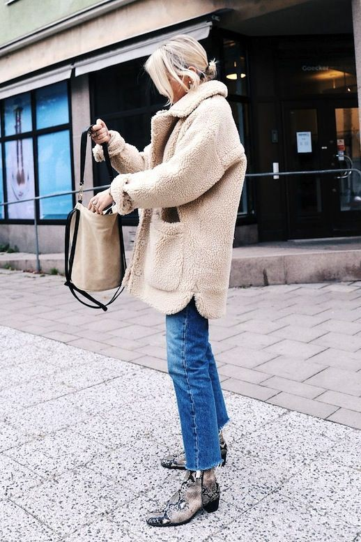 Colour outfit sherpa coat outfit, shearling coat, street fashion, fur clothing
