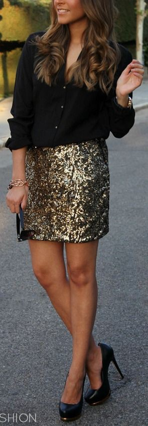 Shirt and sparkly skirt, street fashion, high heels