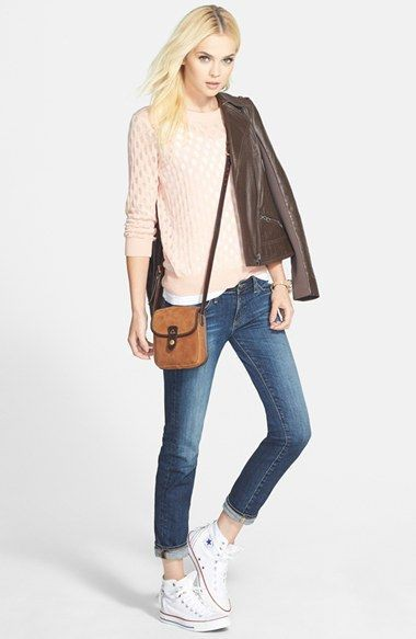 White and tan trendy clothing ideas with jacket, denim, jeans