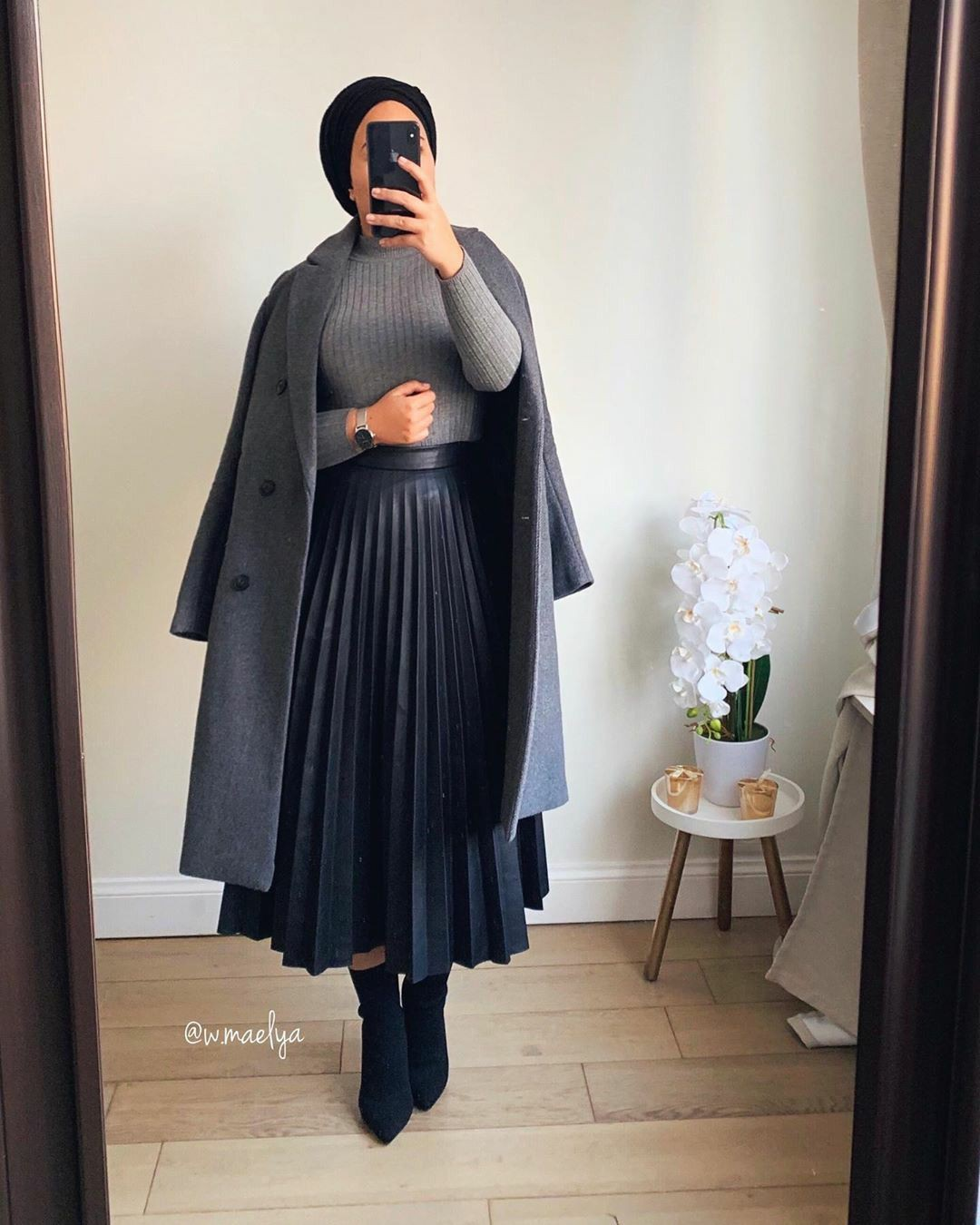 Black colour combination with formal wear, skirt, coat