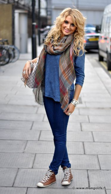Electric blue lookbook fashion with tartan, blazer, denim