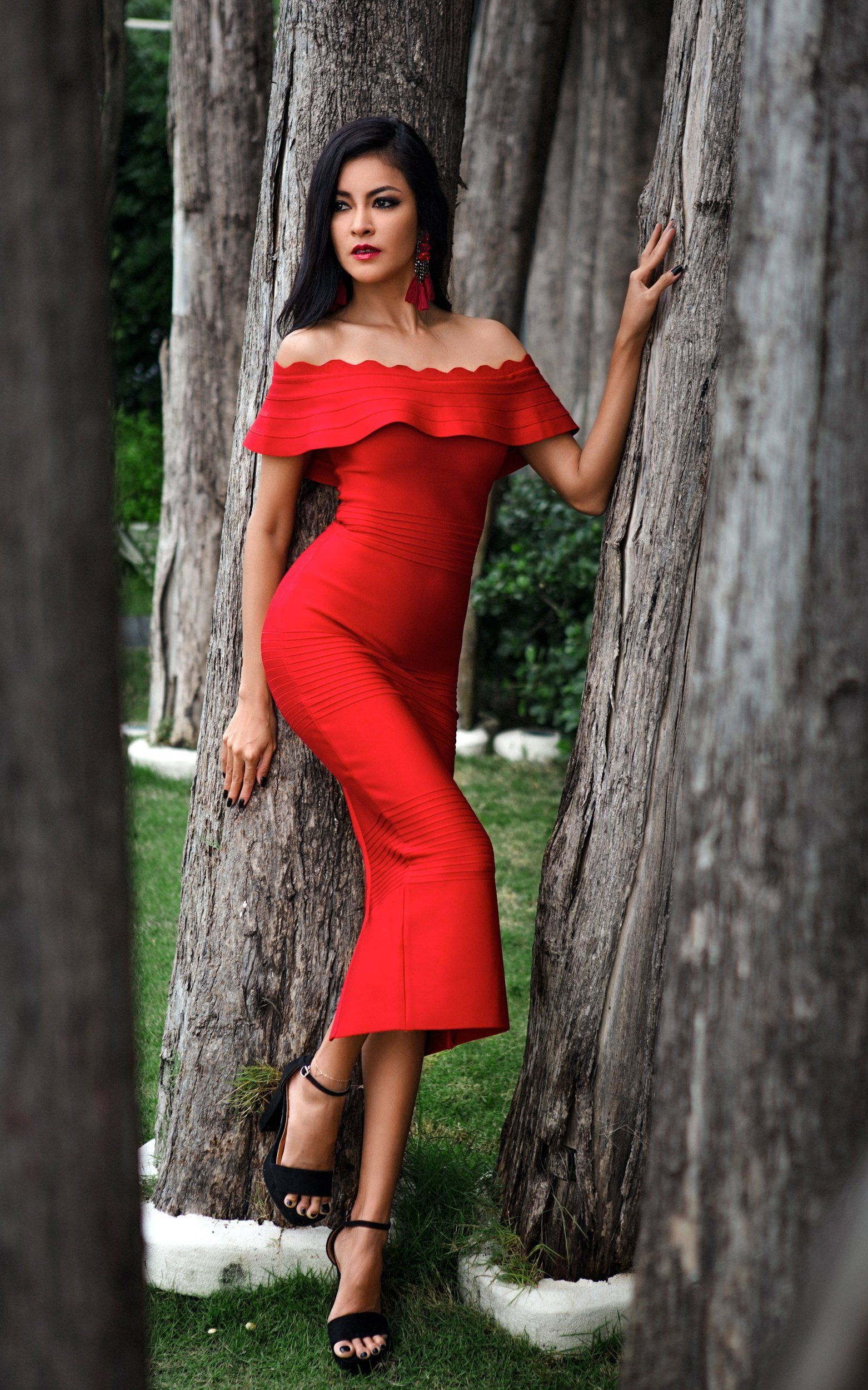 Red outfit Pinterest with evening gown, party dress